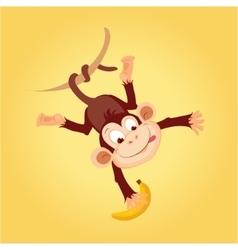 Monkey Hanging On Liana vector image