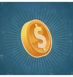 Retro Gold Dollar Coin vector image