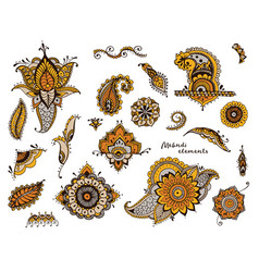 set of hand drawn different mehndi elements vector image vector image