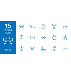 15 gym icons vector