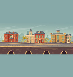 19th century town street with european buildings vector image