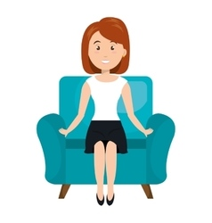 Avatar woman sitting on couch vector
