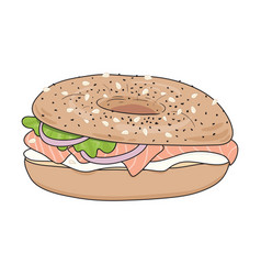 Bagel sandwich with cream cheese and salmon vector