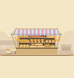 Bakery bread stand counter booth product vector