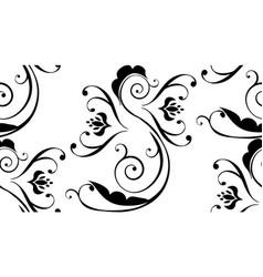 Black floral ornament vector
