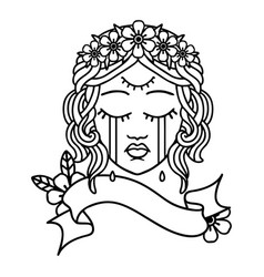 Black linework tattoo with banner female face vector