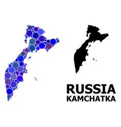 Blue round dot mosaic map kamchatka peninsula vector