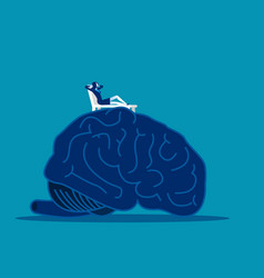 Brain relax woman relax on top large brain vector