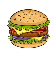 Burger sandwich pop art vector