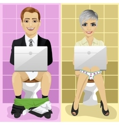 business man and woman using laptops on toilet vector image