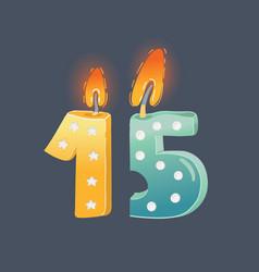 cartoon 15 years birthday card candles on dark vector image
