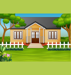 cartoon house with green yard and wooden fence vector image