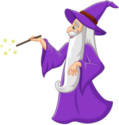 Cartoon old wizard with magic wand vector