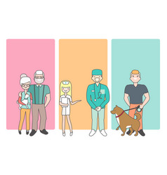 Cartoon people characters bring pets in veterinary vector