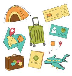 cartoon set icons tourism air travel vector image