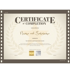Certificate completion template movie theme vector
