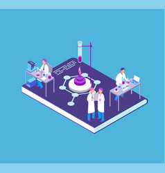 Chemistry pharmaceutical 3d isometric concept vector