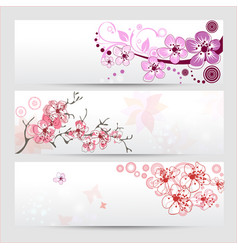 Cherry blossom banners set vector