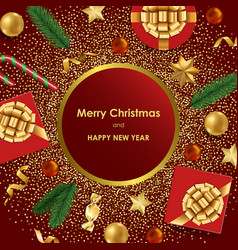 christmas and new year luxury greeting card vector image