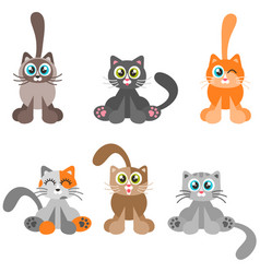 collection of cartoon catsisolated on white vector image