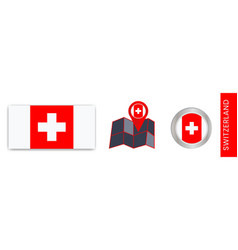 Collection swiss national flags isolated vector