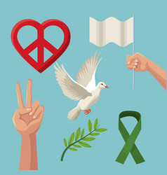color poster icons of peace and love symbols vector image