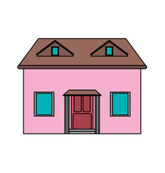 Colorful image cartoon facade house with attic vector