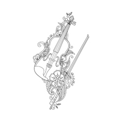 Coloring page - violin and bow with flowers vector image