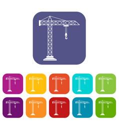construction crane icons set vector image