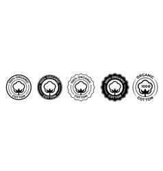 Cotton organic 100 icons flower logo vector