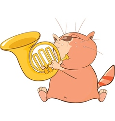 Cute Cat Trumpeter Cartoon vector image