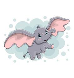 Cute little baby elephant flying vector