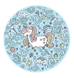 cute magical unicorn design isolated o vector image