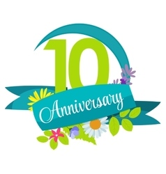 Cute Nature Flower Template 10 Years Anniversary vector