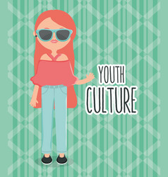 Cute woman with sunglasses street style character vector