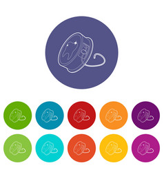 Dental floss icons set color vector