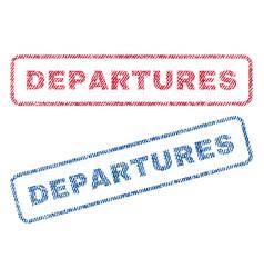 Departures textile stamps vector