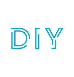 Do it yourself diy linear outline letters homemade vector