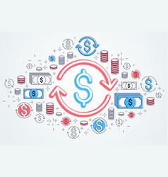 Dollar sign and loop arrow currency exchange vector