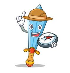 explorer sword character cartoon style vector image