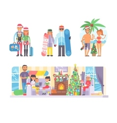 Family winter Christmas vacation vector