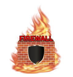 fire wall protection logo with shield and brick vector image