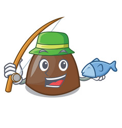 Fishing chocolate candies mascot cartoon vector