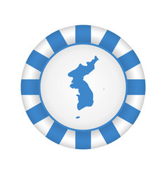 Flag of united korea metal and glass round icon vector