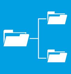 Folders structure icon white vector