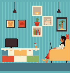 Freelance woman work from home in armchair vector