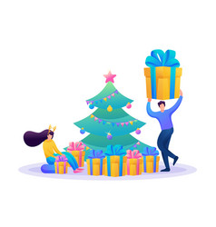 friends near christmas tree unpacking gifts vector image