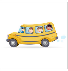 Funny school bus kids riding on school bus vector