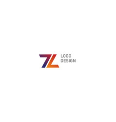 Geometric logo number seven and letter l vector