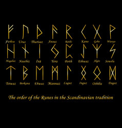 Golden rune metal runes vector